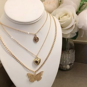 Triple butterfly gold color necklace